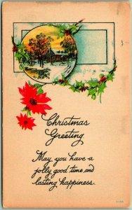 1910s CHRISTMAS GREETING Postcard Winter House Scene / Poinsettias UNUSED