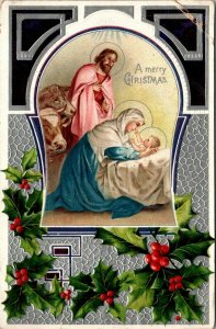 Vintage Postcard a Peaceful Xmas Virgin Mary Baby Jesus Merry Christmas