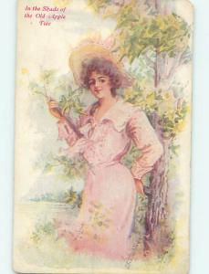 Divided-Back art nouveau signed PRETTY GIRL UNDER THE APPLE TREE o9971