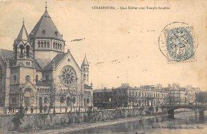 Judaic, Jewish Synagogue Post Card Quai Kleber avec Temple Israelite Strasbou...