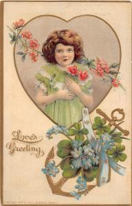 C26/ Valentine's Day Love Holiday Postcard 1909 Girl Flowers Robbins 17