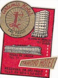 BRASIL SAO PAULO ARTEMIS HOTEL &  TAMOYO HOTEL VINTAGE LUGGAGE LABEL