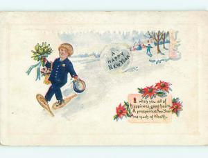 Divided-Back new year BOY ON SNOW SHOES WITH BOUQUET r3864
