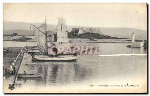 Postcard Old Lighthouse Antibes harbor and Fort Carre Boat Sailboat