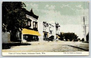 Johnson Creek Wisconsin~Union Street~Store Awnings~Bay Windows~Horse Buggy~1910