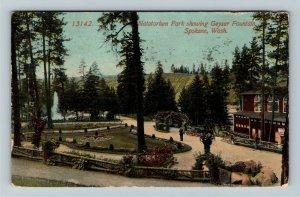 Spokane WA-Washington, Natatorium Park, Geyser Fountain, Vintage c1914 Postcard