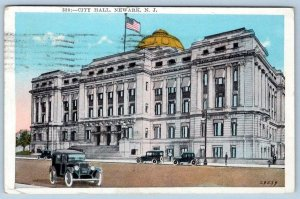 1928 NEWARK NEW JERSEY NJ CITY HALL OLD CARS CONEY ISLAND MESSAGE TO LEESBURG NJ