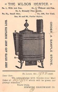 Hardware Advertising Old Vintage Antique Post Card Wilson Heater Postal Used ...