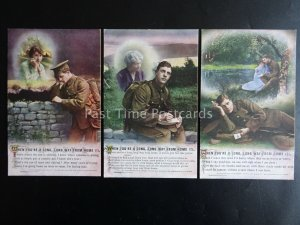WHEN YOU'RE A LONG LONG WAY FROM HOME - WW1 Bamforth Song Cards set of 3 No.4950