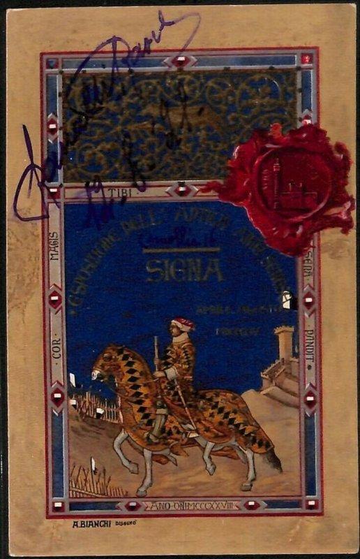 Lib338 - CARTOLINA d'Epoca Illustrata - MOSTRA D'ARTE Siena BIANCHI  1921