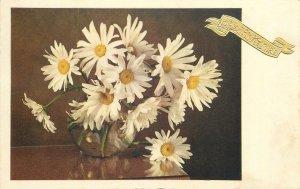Postcard Greetings flowers in vase