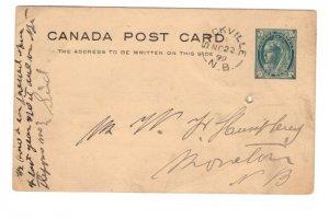 Victoria Jubilee Postal Stationery Postcard, Used Sackville, New Brunswick 1899