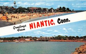Niantic Connecticut~Crescent Beach Scene~Niantic Bay & Railroad Bridge~c1950s PC