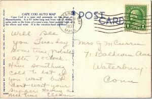 Cape Cod Auto Map Nantucket Barnstable Buzzards Bay c1937 Vintage Postcard R12