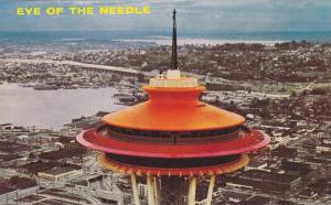 A view of the space needle overlooking Lake Union and Lake Washington in back...
