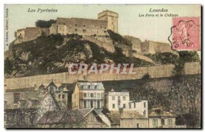 Old Postcard Lourdes Forts and Castle