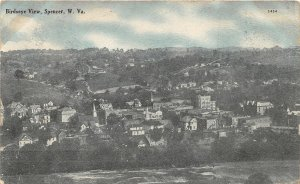 F96/ Spencer West Virginia Postcard 1909 Birdseye View Homes School
