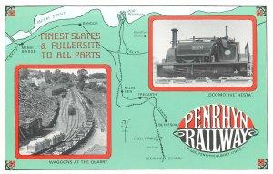 Padarn Penrhyn welsh slate quarries railway map route locomotive Nesta Postcard