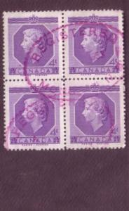 Canada, Used Block of Four, Elizabeth II, 4 Cent, Scott #330, Registered Canc...