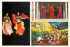 Tunisia multi view postcard folklore costumes woman dances