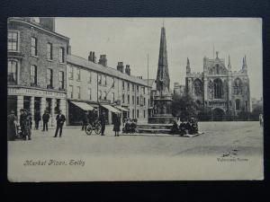 North Yorkshire SELBY Market Place Animated Scene c1905 Postcard by Valentine