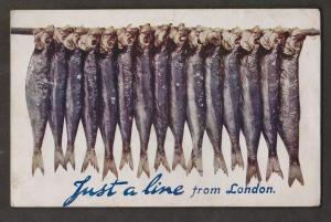 Just A Line From London - Fishing - Printed In UK - Used 1918 - Some Wear