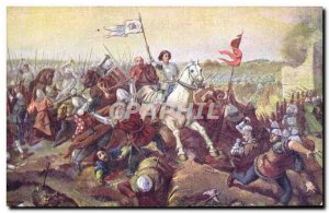 Old Postcard Jeanne d & # 39Arc Jeanne followed by his intrepid knights and s...