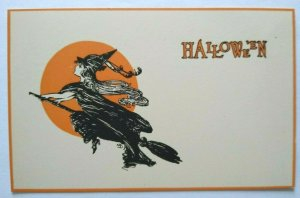 Antique Halloween Postcard Gibson Witch Flying On Broom By Moon Unused Scarce