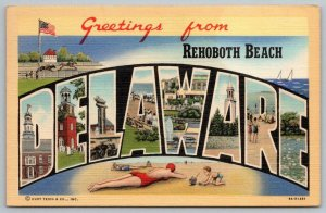 1947 GREETINGS FROM REHOBOTH BEACH DELAWARE LARGE LETTER LINEN CURT TEICH