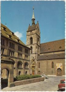 Switzerland, Basel, Martinskirche mit Fischmarktbrunnen, unused Postcard