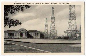 State Capitol & Oil Wells, Oklahoma City OK