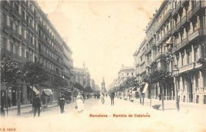 BARCELONA Rambla de Cataluña SPAIN c1900s Vintage Postcard