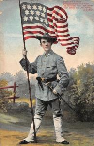 F64/ Patriotic Postcard c1908 Soldier Flag Sword Uniform Hat 23
