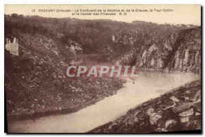 Old Postcard Crozant Creuse The Confluence of Sedellet and Creuse Collin Towe...
