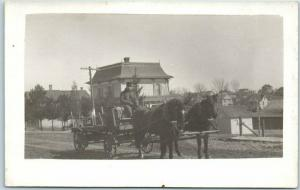 1910s RPPC Real Photo Postcard Man Driving Horse Delivery Wagon / Street Scene