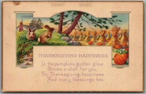 Vintage 1910s THANKSGIVING HAPPINESS Greetings Postcard Stecher 1065B
