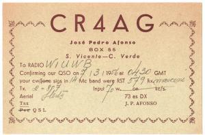 QSL, CR4AG, Cape Verde, 1956