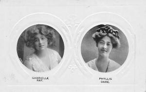 Edwardian Era Actresses Gabrielle Ray, Phyllis Dare, Embossed, Davidson Bros