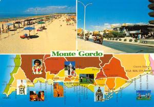 Portugal Algarve Monte Gordo Map Beach Promenade Carriage Surfers
