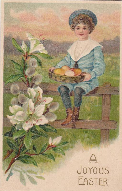 A Joyful Easter, Boy sitting on fence holding basket of eggs, flowers, PU-1908