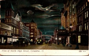 Ohio Columbus View Of Trolleys On North High Street At Night