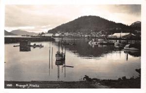 Wrangell Alaska~Harbor Scene~Fishing Boats @ Dock~Town on Hillside~c1950s RPPC