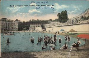 Kansas City MO Electric Park Beach Roller Coaster c1915 Postcard