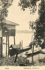 Vintage Postcard; Moesl, Palembang, Sumatra Indonesia, House on Stilts & Boats