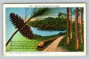 Greensboro NC-North Carolina, The Old North State Toast, Poem, Linen Postcard
