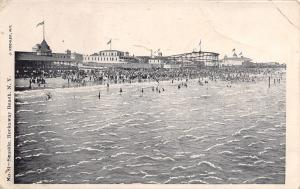 Rockaway Beach NY Roller Coaster~Crowds Swimming in Front of Pavilions~B&W c1906