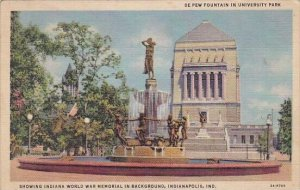 De Pew Fountain In Unversity Park Showing Indiana World War Memorial In Backg...