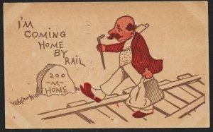 Coming Home By Rail Man Walking On Railroad Tracks Used c1907