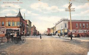 Parsons Kansas~Main Street~White Furniture~Dry Goods Shop~Horse Buggy~1913