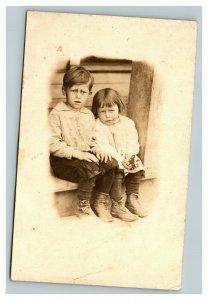Vintage 1920's RPPC Postcard Depression Era Children's Portrait